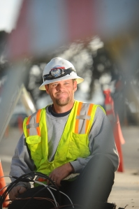 Electrician Daniel Totty of St. Francis Electric pauses for a moment on the work site of the new Vallejo Station Intermodal transportation center, a planned waterfront transit hub that will serve the City of Vallejo and provide a gateway to the North Bay and Solano County.