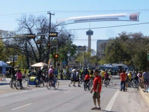 In 2011, San Antonio, Texas hosted two successful Síclovías (Cyclovias). Closing off Broadway Avenue to auto traffic from downtown northward three miles, participants engaged in a variety of family friendly events encouraging active transportation, and healthy lifestyles. Activities included: live music, local food vendors, yoga instruction, and bicycle skills classes.