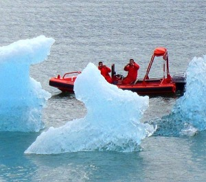 Icebergs being investigated from the safety of the Fast Rescue Boat deployed from the M/V Taku.