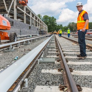Nick Perfili conducts a Silver Line construction progress tour in Fairfax County, Virginia.