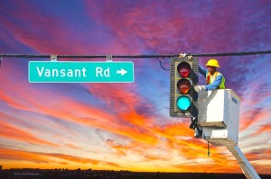 Georgia DOT Signal Technician Bobby Bryant inspects a traffic light in District 7 on the south side of Atlanta. Routine maintenance enables GDOT to extend the life of and get optimum use from critical assets. GDOT maintains 3,280 lights across Georgia.