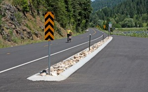 Bicycle riders enjoy the scenic solitude of U.S. 12 as it winds along the Lochsa River, about 120 miles east of Lewiston, Idaho.