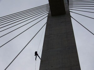 Dangling by ropes from 200-foot towers is only a day on the job for the Kentucky Transportation Cabinet's bridge inspectors in District 9. This cable-stayed bridge crossing the Ohio River at Maysville gets inspected regularly, and rappelled at least once a year.