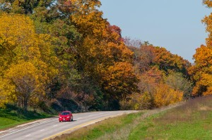 Traveling along Highway 50 east of Jefferson City, Missouri on a beautiful Fall day.