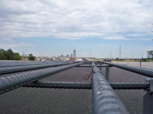 Reinforced steel is laid out along this stretch of I-40 in Oklahoma City. This section of I-40 stretches from May Ave. 2.5 miles east to Western Ave. into the heart of downtown Oklahoma City.