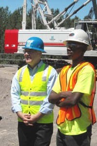 Economic stimulus through workforce development is a goal of ODOT's OTIA III State Bridge Delivery Program. Recently, Bureau of Labor and Industries Commissioner Brad Avakian (left) joined students from the Northwest College of Construction's summer pre-apprenticeship program on a tour of the Interstate 84 Sandy River Bridge project.