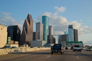 Houston skyline from Interstate 45.