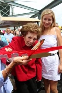 At age 5, Eileen Foley cut a ribbon in August of 1923 to mark the opening of the Memorial Bridge connecting Portsmouth, New Hampshire and Kittery, Maine. Nine decades later the 95-year old former Portsmouth mayor repeated the milestone, marking the opening of a new Memorial Bridge on August 8, 2013.