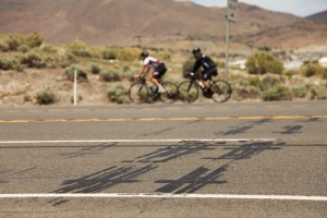Bicyclists travel the well-worn U.S. 50 near Moundhouse, Nevada. The Nevada Department of Transportation is currently giving the northwestern Nevada road a facelift by repaving and making safety improvements.