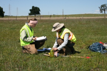 Environmental review work being conducted by Dokken Engineering employees on the Capital SouthEast Connector Expressway segment near Folsom, California.