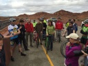 Bikers from the Southern Utah Bike Association (SUBA) celebrate the completion of the Bluff Street at Red Hills Parkway Interchange with a ride. The innovative center exit interchange improved safety for motorists, pedestrians, and cyclists by creating a safer section of road at a busy intersection in St. George, Utah.
