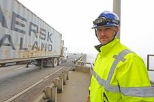 Hampton Roads District Structure & Bridge Engineer Derrick Keltner heads up a rope access inspection of the High Rise Bridge in Chesapeak Va.