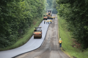 Paving operation on Route 60 in Cumberland County