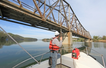 Wade Rhoads and the Hampton Roads Side Scan Sonar Crew scans Holston Lake at the Aven's Bridge (State Route 670) before bridge replacement.